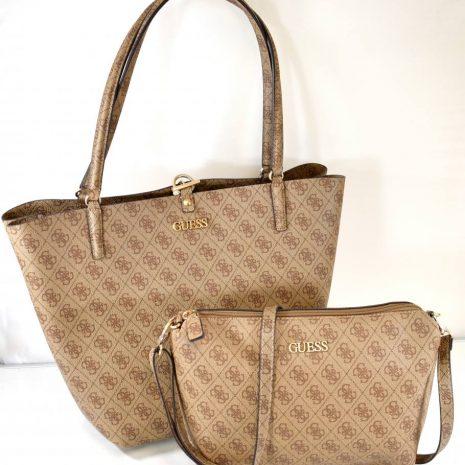 Dámska hnedá elegantná kabelka 2v1 GUESS
