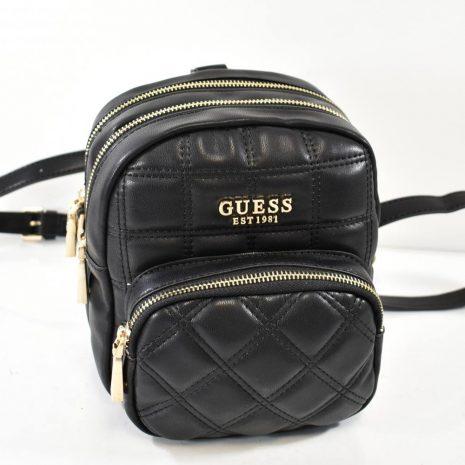 Športovo elegantný malý dámsky čierny ruksak GUESS