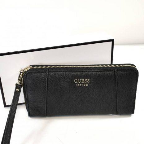 Veľká dámska čierna peňaženka na zips GUESS