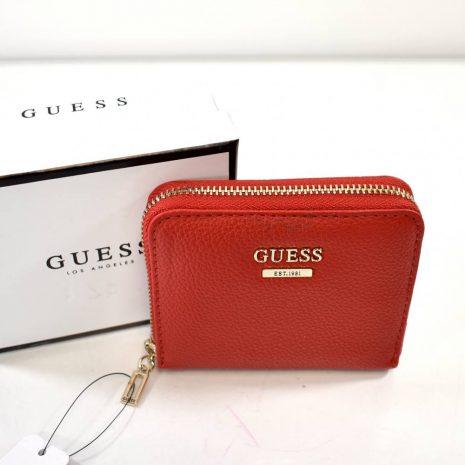 Menšia dámska červená peňaženka GUESS na zips