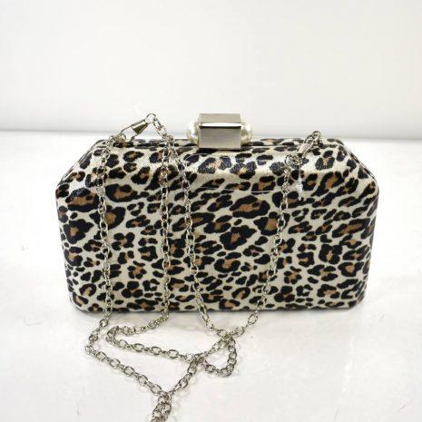 Spoločenská kabelka leopardí vzor striebristá