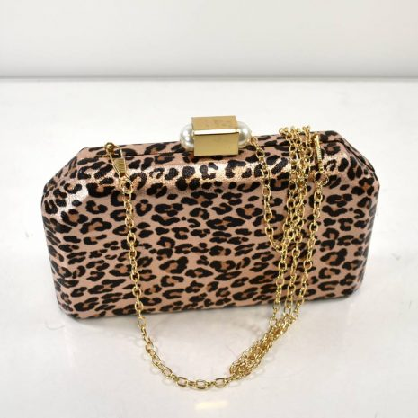 Spoločenská kabelka leopardí vzor pudrová