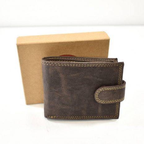 Elegantná hnedá pánska peňaženka brúsená koža