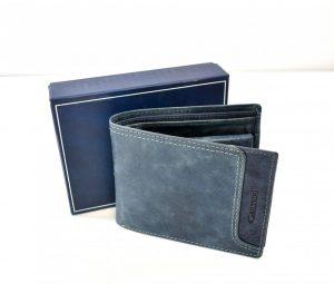 Športovo elegantná pánska peňaženka v modrej farbe bez zapínania na preklop