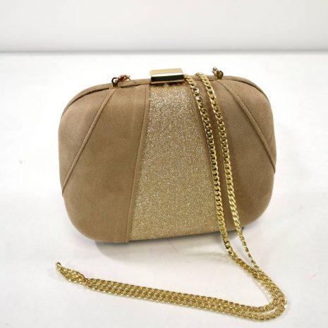 Spoločenská dámska béžovo zlatá kabelka