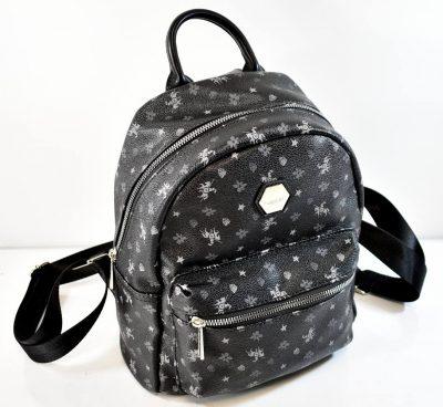 Štýlový dámsky batoh v čiernej farbe so šedými vzormi