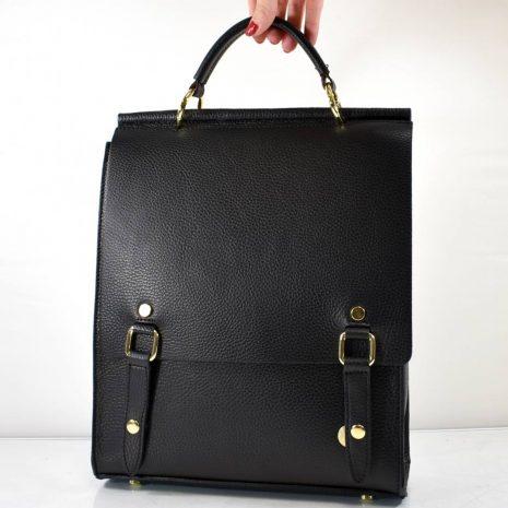 Elegantný dámsky kožený čierny ruksak ITALY