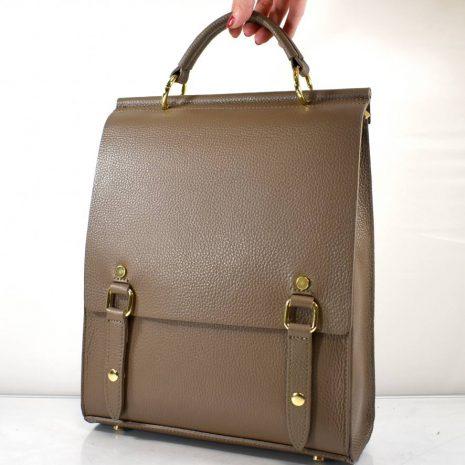 Elegantný dámsky kožený hnedo šedý ruksak ITALY