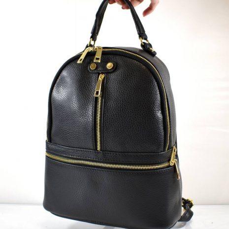 Kožený športovo elegantný čierny ruksak