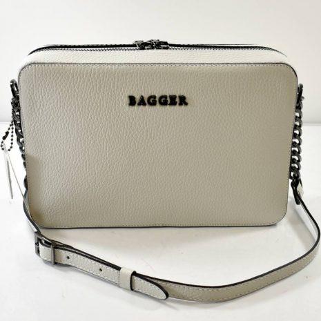 Crossbody kožená snehovo sivá kabelka BAGGER